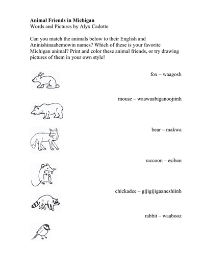 Print and color these animal friends or try drawing pictures of them in